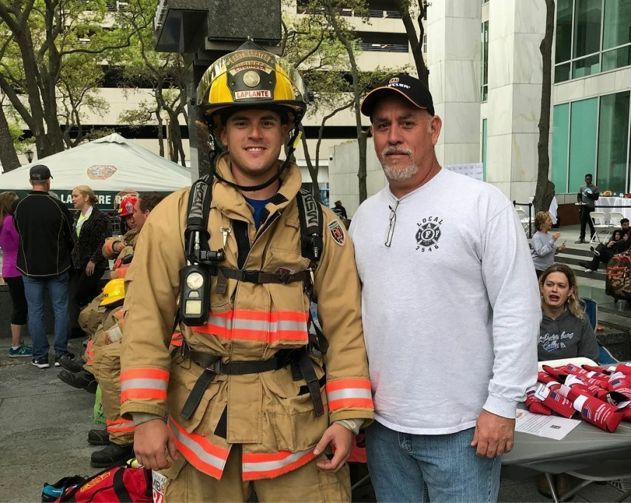 derek laplante with his father steve laplante  retired captain from cedar hammock fire rescue  fight for air climb    east manatee fire rescue district  rh   emfr org